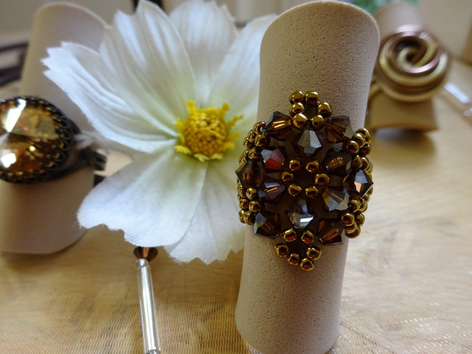 Blumenring aus 4mm Swarovskisteinen