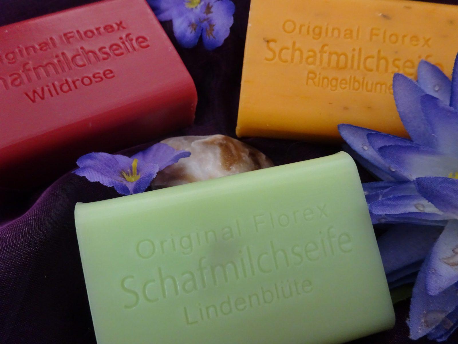 Schafmilchseifen im Duft der Wildrose, der Ringelblume und der Lindenblüte